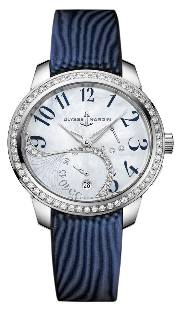 Часы, Ulysse Nardin, коллекция Jade, стальной корпус инкрустирован бриллиантами, белый перламутровый циферблат, сатиновый ремешок, цена по запросу. Салон Classic Time ТК «Гостиный Двор».