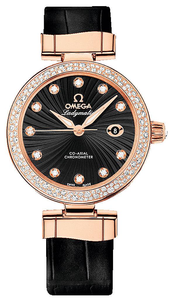 Часы, Omega, коллекция De Ville Ladymatiс Co-Axial 34 мм, корпус из розового золота инкрустирован бриллиантами, кожаный ремешок, , цена по запросу. Салон Classic Time ТК «Гостиный Двор».