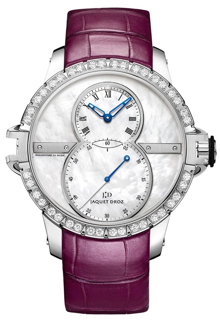 Часы, Jaquet Droz, коллекция Grande seconde sw lady, стальной корпус инкрустирован бриллиантами, белый перламутровый циферблат, кожаный ремешок, цена по запросу. Салон Classic Time ТК «Гостиный Двор».